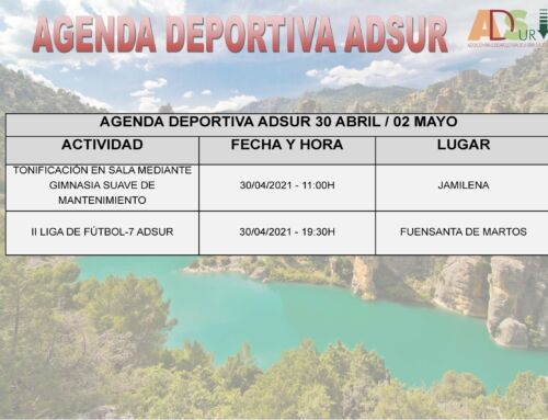 Agenda Deportiva ADSUR (30 Abril / 02 Mayo)